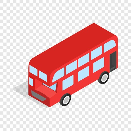English red bus isometric icon