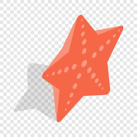 Red starfish isometric icon Illustration