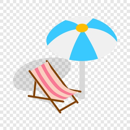 collapsible: Beach chaise lounge with umbrella isometric icon