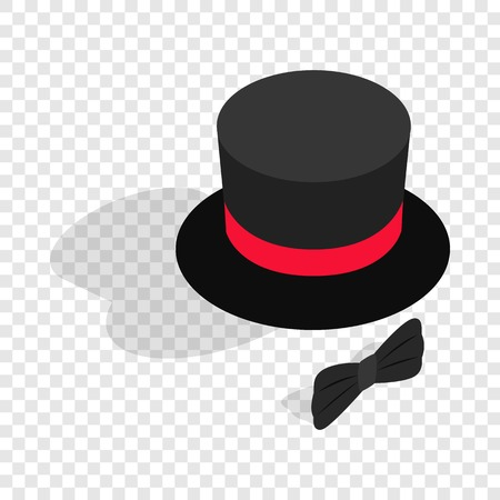 Black top hat and bow tie isometric icon