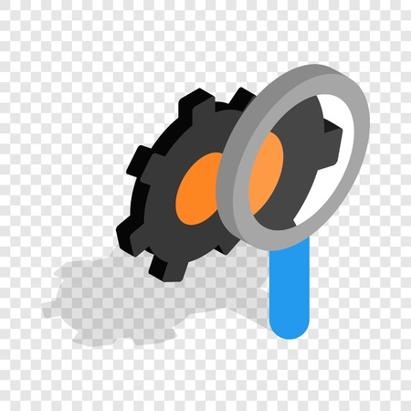 communications tools: Magnifying Glass and gears isometric icon