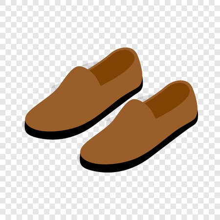loafer: Brown leather shoe isometric icon