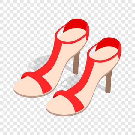 Pair of high heel red female shoes isometric icon