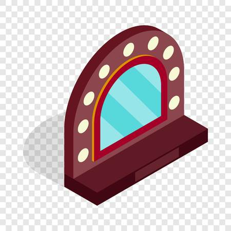 Mirror with bulbs for makeup isometric icon Illustration