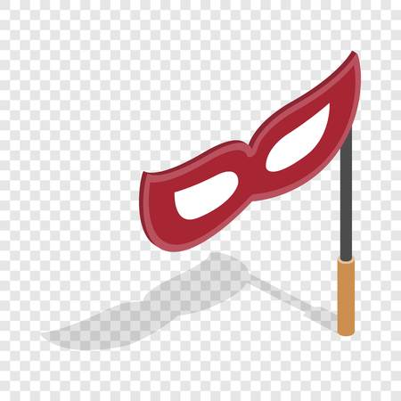 Red mask on a stick isometric icon