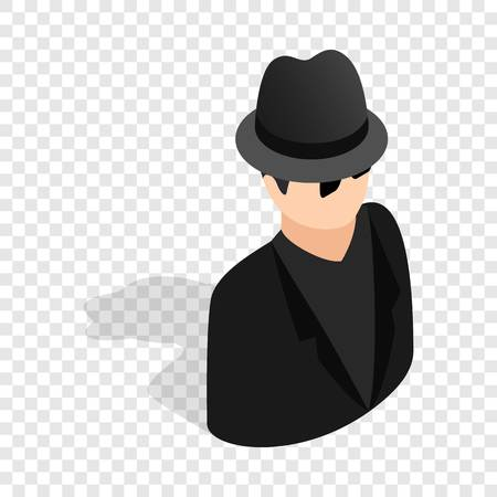Man in black sunglasses and black hat isometric