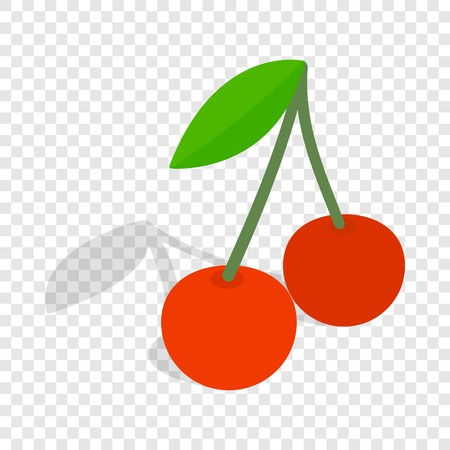 glace: Two cherries with the leaf isometric icon
