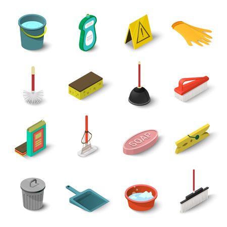 Cleaning icons set, isometric style