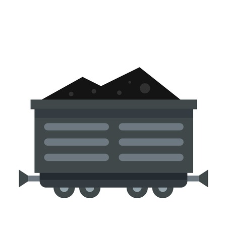 Train waggon with coal icon, flat style Illustration