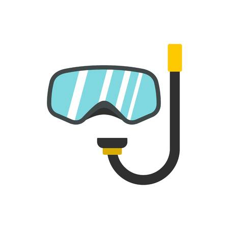 rubber tube: Goggles and tube for diving icon isolated on white background vector illustration