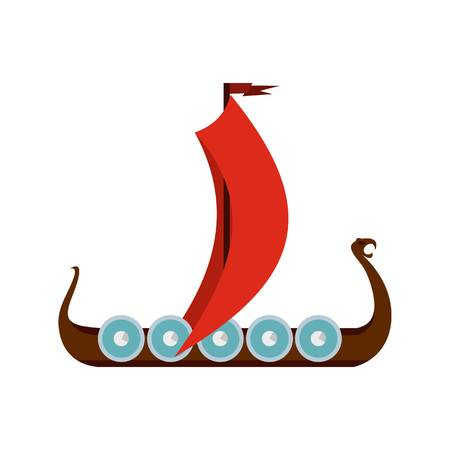 Medieval boat icon, flat style