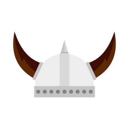 Viking helmet icon, flat style