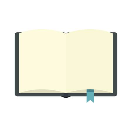 Open book with bookmark icon, flat style