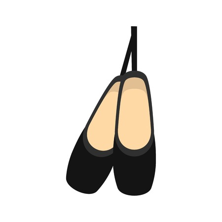 Pointe shoes icon, flat style Illustration
