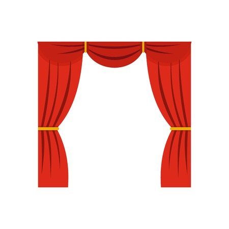Curtain on stage icon, flat style