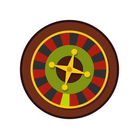 wheel of fortune: Casino gambling roulette icon, flat style