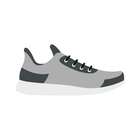 Gray sneaker icon, flat style Illustration