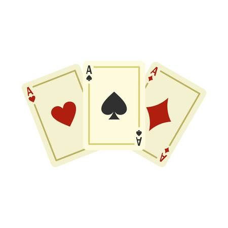 clubs diamonds: Aces playing cards icon, flat style