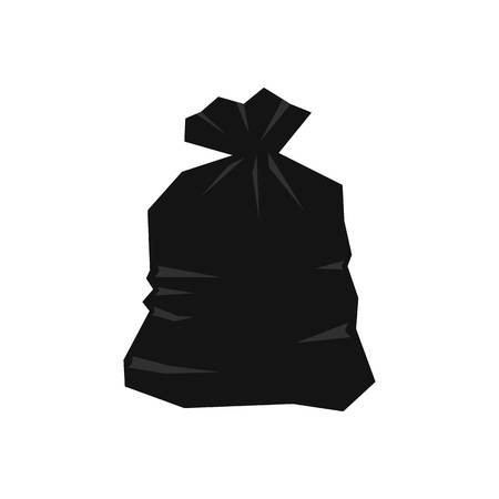 to refuse: Garbage bag icon isolated on white background vector illustration