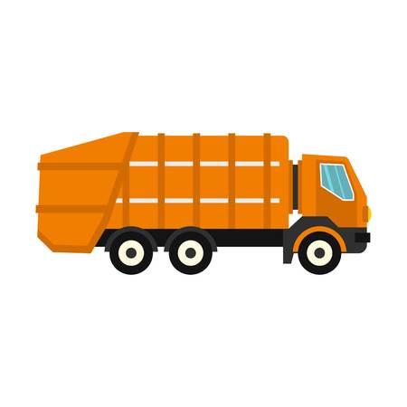 dump body: Garbage truck icon, flat style