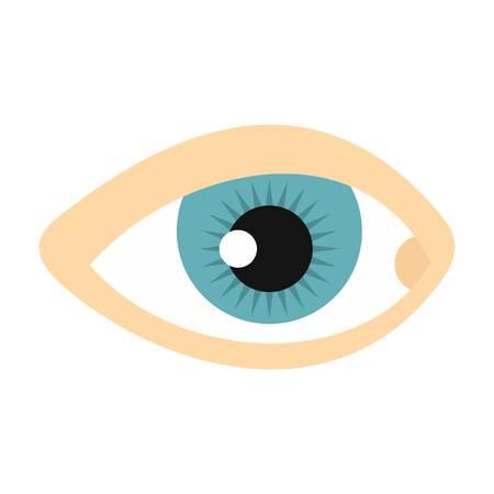 human eye: Blue human eye icon, flat style
