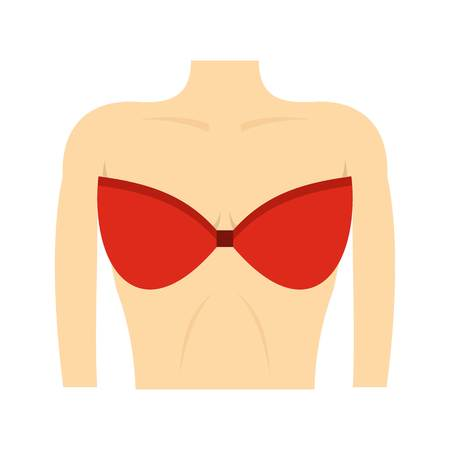 Female breast in a red bra icon, flat style