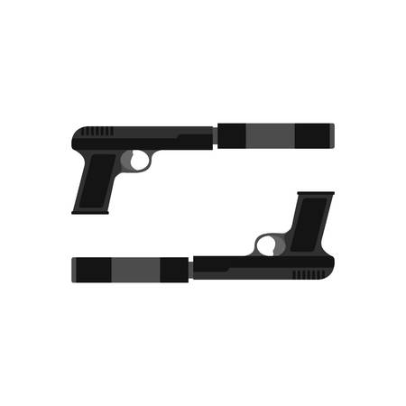 Gun icon, flat style Illustration