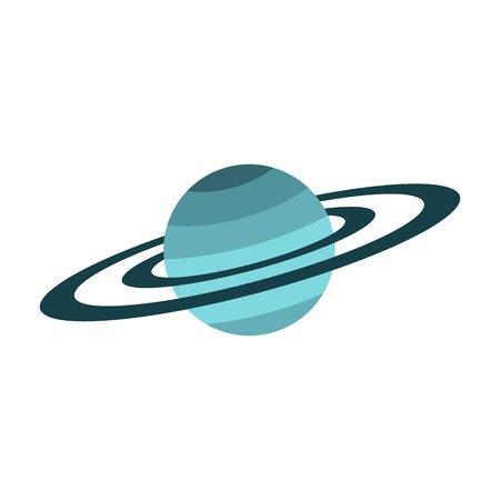 Saturn pictogram, vlakke stijl