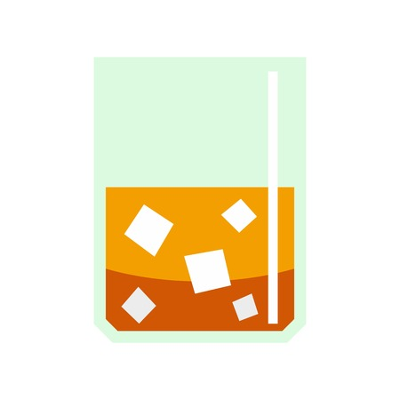 highball: Glass of scotch whiskey and ice icon, flat style Illustration