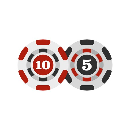 Poker chips nominal five and ten icon, flat style