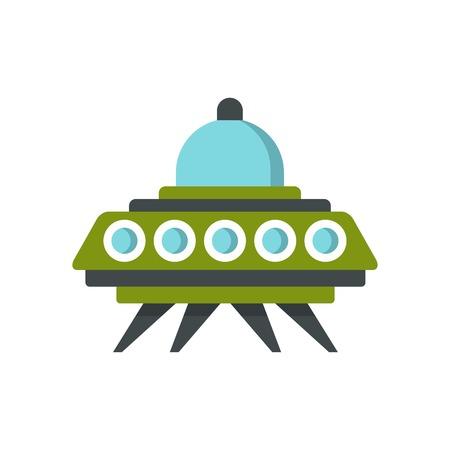 Alien spaceship icon, flat style