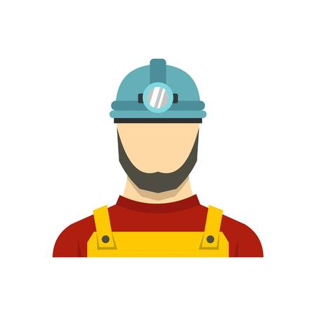 Male miner icon in flat style isolated on white background vector illustration Illustration