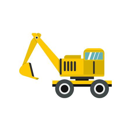 earth mover: Excavator icon in flat style isolated on white background vector illustration
