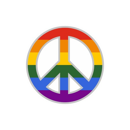 LGBT peace sign icon, flat style Illustration