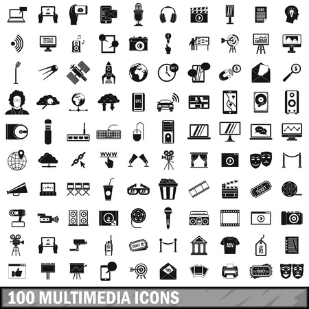 selfy: 100 multimedia icons set in simple style
