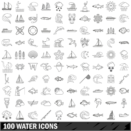 100 water icons set, outline style Stock Vector - 73359441