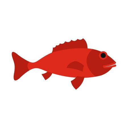 Fish icon, flat style Illustration