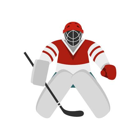 puck: Hockey goalkeeper icon, flat style