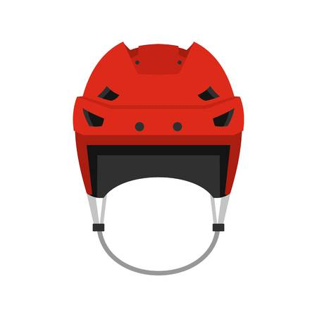 icehockey: Hockey helmet icon, flat style