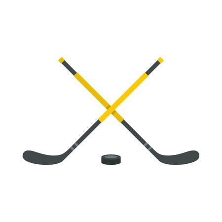 Sticks and puck icon, flat style