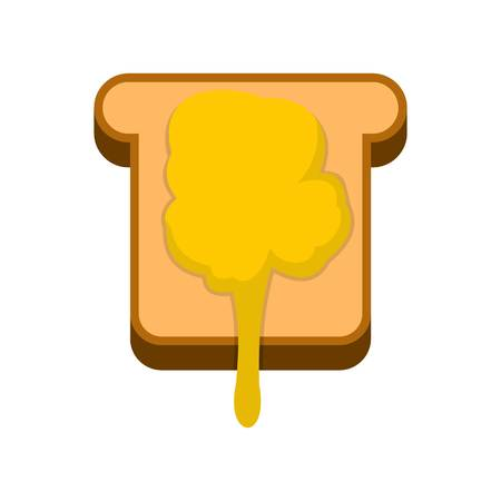 confiture: Toast with honey icon, flat style