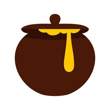 Honey pot icon, flat style Illustration