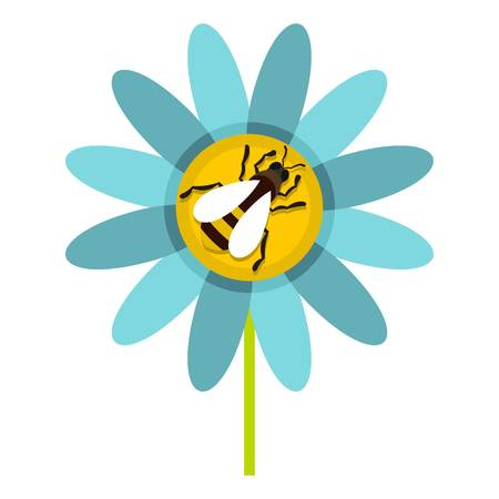 Bee on flower icon, flat style