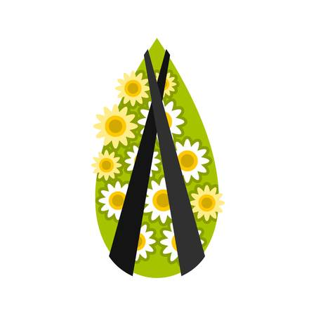 Memorial wreath icon, flat style Illustration