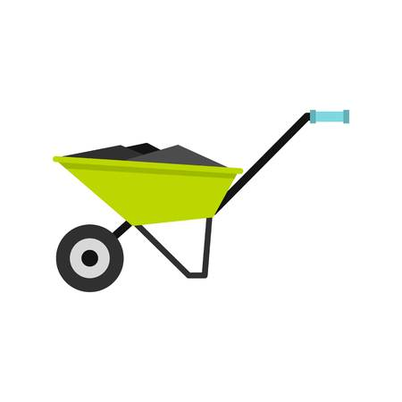 Wheelbarrow icon, flat style Illustration