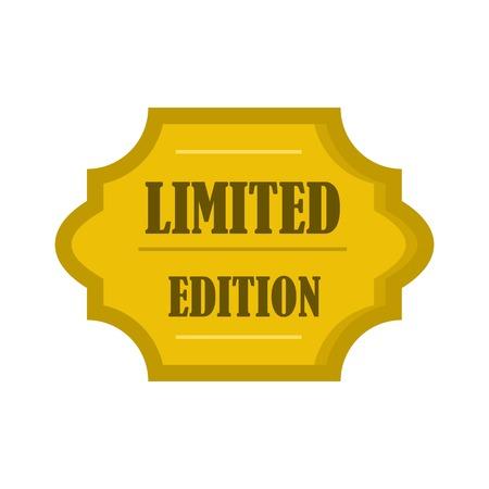 L'icona dell'etichetta dorata dell'edizione limitata, stile piatto