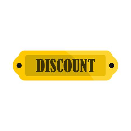 Golden discount label icon, flat style Illustration