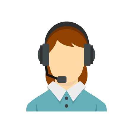 Call center operator with phone headset icon