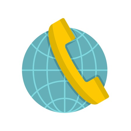 world receiver: Global communication icon, flat style