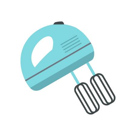 Blue electric mixer icon, flat style